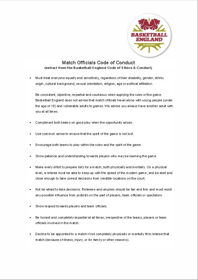 Match Officials Code of Conduct